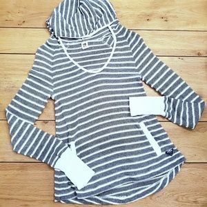 Roxy Blue and White Striped Knit Pullover Hoodie